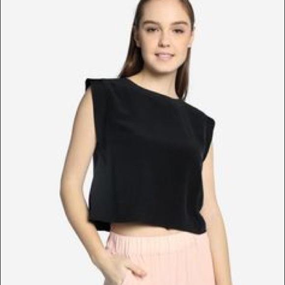 bf80d28a353d8f grana Tops | Silk Cropped Contrast Shell | Poshmark